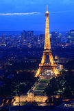 Eiffel Tower Paris night. PARIS, FRANCE - JUNE 18: Eiffel Tower Paris, 2011. Night dusk scene showing Eiffel tower light lit up Stock Image