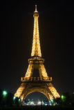 Eiffel tower of Paris at night Stock Photography