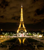 Eiffel Tower in Paris at night Stock Images
