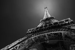 Eiffel tower in Paris at night. Black and white Royalty Free Stock Images