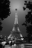 Eiffel tower in Paris at night, black and white Royalty Free Stock Image