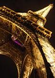 Eiffel tower in Paris by night, closeup diagonal stock photos