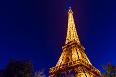 Eiffel Tower in Paris at night. The famous Eiffel Tower by night Stock Photos