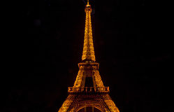 The Eiffel Tower in Paris by Night Royalty Free Stock Images