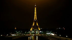 Eiffel tower in paris at night stock video footage
