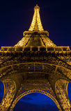 Eiffel Tower in Paris at Night Stock Photography