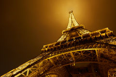 Eiffel tower in Paris at night, low angle view Royalty Free Stock Photos