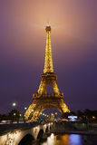 Eiffel tower in Paris at night with river view Royalty Free Stock Image