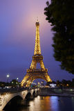 Eiffel tower in Paris at night with river view Royalty Free Stock Photo
