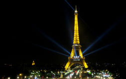 The Eiffel Tower in Paris at night Royalty Free Stock Image