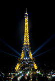 The Eiffel Tower in Paris at night Royalty Free Stock Photography