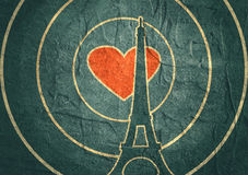 Eiffel tower in Paris. Outline silhouette. Gradient radiant backdrop. Eiffel tower in Paris. Contour silhouette on circle gradient radiant background. Red heart royalty free illustration