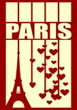 Eiffel tower in Paris. Outline silhouette. Striped backdrop with hearts Stock Photo