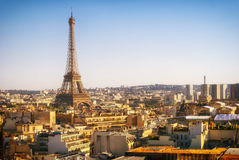 Eiffel Tower, Paris, panoramic view from Triumphal Arch Royalty Free Stock Image