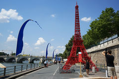 Eiffel Tower on Paris Plages 2014 Royalty Free Stock Photos