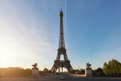 Eiffel tower at Paris from the river Seine in morning. Paris, Fr Royalty Free Stock Images