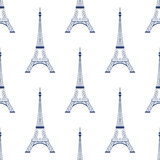 Eiffel tower Paris seamless pattern background. Stock Photo