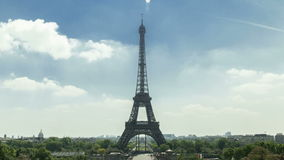Eiffel tower in Paris seen from Trocadero. It is a lovely summer afternoon. Afternoon. Eiffel tower in Paris seen from Trocadero. It is a lovely summer stock video footage
