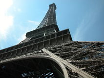 Eiffel Tower, Paris, 2005. Shot from under one of the legs of the Eiffel Tower, summer 2005 stock photo
