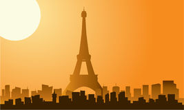 The Eiffel tower in Paris silhouette. With moon royalty free illustration