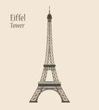 Eiffel Tower in Paris - Silhouette Vector Illustration Royalty Free Stock Photos