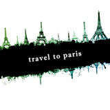 Eiffel tower paris skyline, grunge style abstract illustration Royalty Free Stock Images