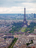 Eiffel Tower in Paris Skyline. Late spring/early summer skyline of Paris with the Eiffel Tower prominently visible Royalty Free Stock Photo