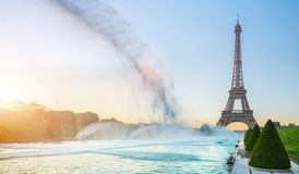 The eiffel tower in Paris at sunrise morning Stock Photography
