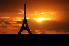Eiffel tower Paris at sunset Royalty Free Stock Photos