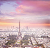 Eiffel tower in Paris at sunset. Royalty Free Stock Photography