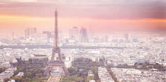 Eiffel tower in Paris at sunset. Royalty Free Stock Images
