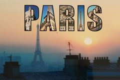 Eiffel Tower in Paris sunset royalty free stock images