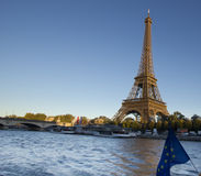 Eiffel Tower, Paris, at sunset from Seine Stock Photography