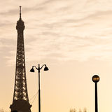 Eiffel tower in Paris on sunset Stock Images
