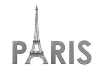 Eiffel Tower with Paris Text Royalty Free Stock Photo