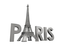 Eiffel Tower with Paris Text Stock Photography