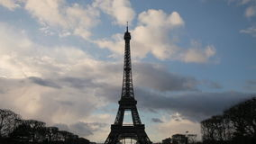 Eiffel tower in Paris timelapse Royalty Free Stock Photography
