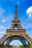 Eiffel tower in Paris France. The Eiffel tower in Paris under clear blue skies Stock Photography