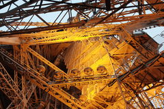 Eiffel Tower, Paris. A unique view of the metal structures holding up the famous Eiffel Tower, in Paris, France Stock Photo
