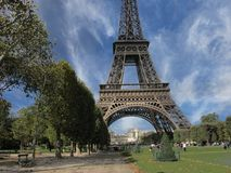 Eiffel Tower in Paris, view from Champs de Mars Royalty Free Stock Image