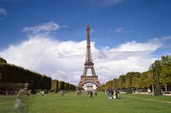 Eiffel Tower, Paris. Eiffel Tower - view from Field of Mars Royalty Free Stock Photo