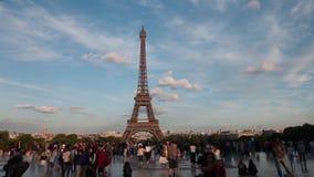 Eiffel tower in Paris. A view of Eiffel Eiffel tower in Paris from Trocadero. Timelapse stock video footage