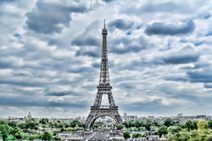 Eiffel Tower in Paris. Vintage HDR view. Tour Eiffel HDR style. stock photo