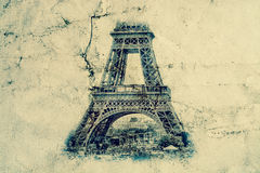 Eiffel Tower in Paris. Vintage view background. Tour Eiffel old retro style photo with cracks crumpled paper. Eiffel Tower in Paris. Vintage view background Stock Photography