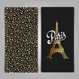 Eiffel tower parisian symbol. Hand drawn vector greeting art dec Royalty Free Stock Photos