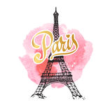 Eiffel tower parisian symbol. Hand drawn vector greeting card. Stock Photography
