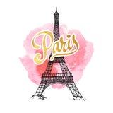 Eiffel tower parisian symbol. Hand drawn vector greeting card. Stock Photography