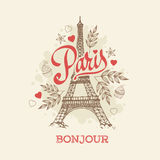 Eiffel tower Parisian symbol hand drawn vector greeting card Royalty Free Stock Photos