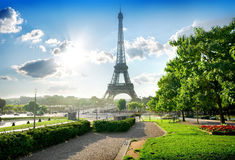Eiffel tower and park Royalty Free Stock Photos