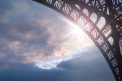 Eiffel Tower parts with sunshine stock image